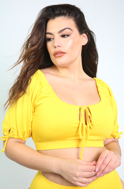 Yellow Short Sleeve KeyHole Swim Top Plus Sizes