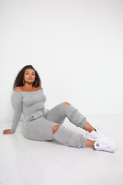 Gray Over The Shoulder Cut-Out Jumpsuit Plus Sizes