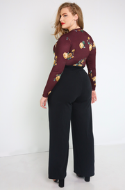 Burgundy Printed Bodysuit Plus Sizes