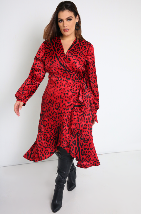 Red Leopard wrap Midi ruffled Dress with puff sleeves plus sizes