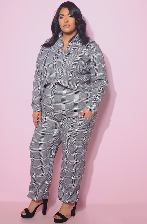 Gray Plaid Joggers Plus Sizes