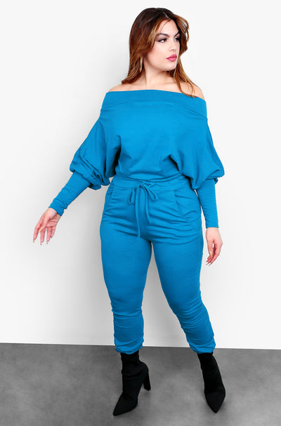 Sapphire Blue Over The Shoulder Jumper With Pockets Plus Sizes