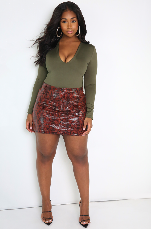 Olive Long Sleeve Bodysuit Plus SIzes