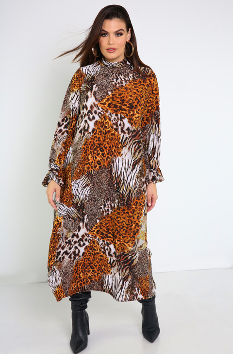 Brown Bell Sleeve Maxi Dress Plus Sizes