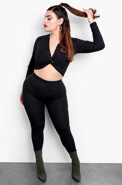 Black Twist Front Long Sleeve Top & Matching Pants Set