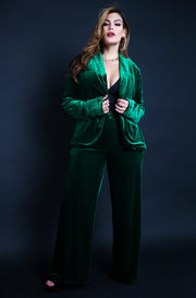 "Rebdolls ""Life of The Party"" Velvet High Waisted Dress Pants - Emerald Green"