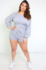 Gray Drawstring Booty Shorts Plus Sizes