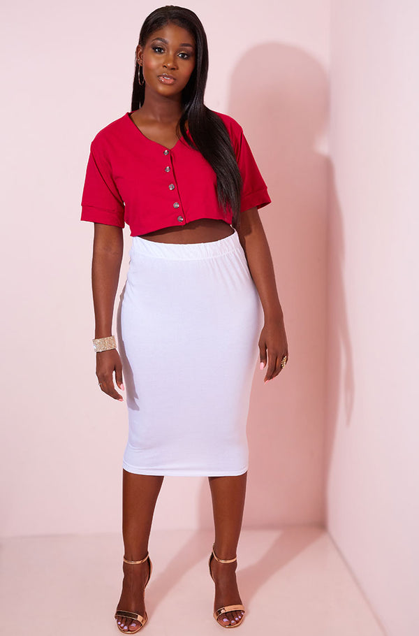 White Light-Weight Bodycon Midi Skirt Plus Sizes