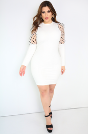 White Puff Shoulders Mini Dress Plus Sizes