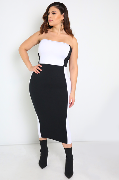 Black Color Block Midi Dress Plus Sizes