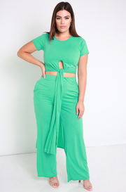 Aqua Side Slit Long Top Plus Sizes