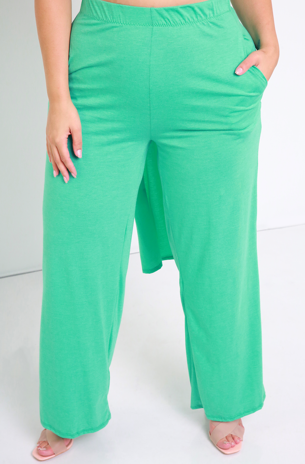 Aqua Palazzo Pant With Pockets Plus Sizes
