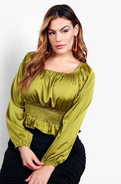 Chartreuse Satin Long Sleeve Top