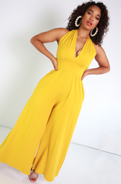 Mustard Halter Wide Leg Jumpsuit Plus Sizes