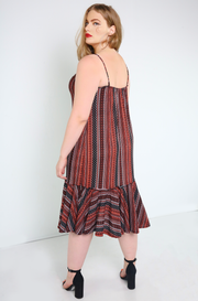 Burgundy Striped Slip Dress Plus Sizes