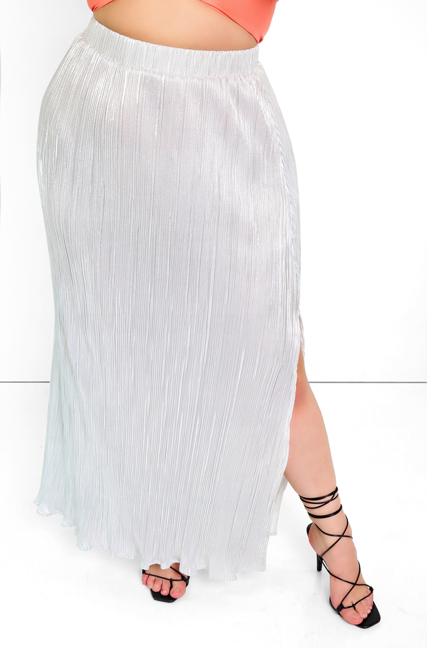 silver textured Maxi Skirt W. Side Slit Plus Sizes