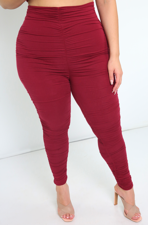 Burgundy  Ruched Leggings Plus Sizes