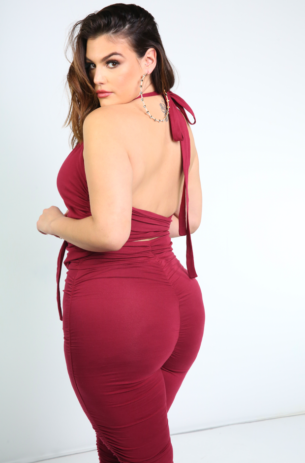 Burgundy  Halter Top Plus Sizes