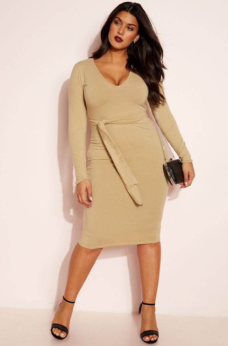 Mocha V-Neck Bodycon Midi Dress plus sizes