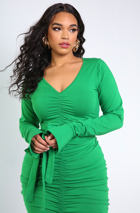 Green Long Sleeve Ruched Mini Dress Plus Sizes