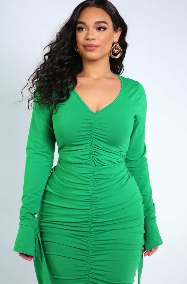 Green Long Sleeve Ruched Mini Dress