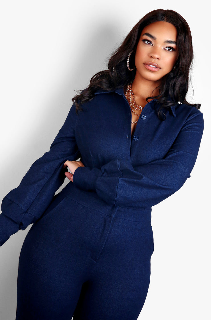 Blue Button Down Long Sleeve Jumpsuit Plus Sizes