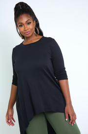 Black High Low Maxi Top Plus Sizes