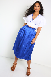 royal blue Satin Pleated Skater Skirt