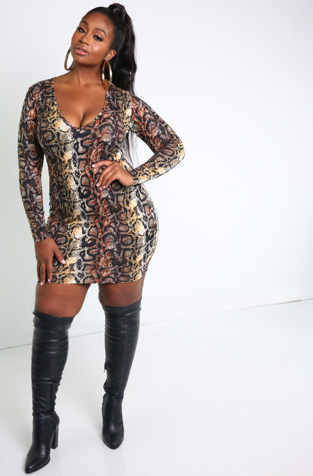 Brown Snake Print Bodycon Mini Dress Plus Sizes
