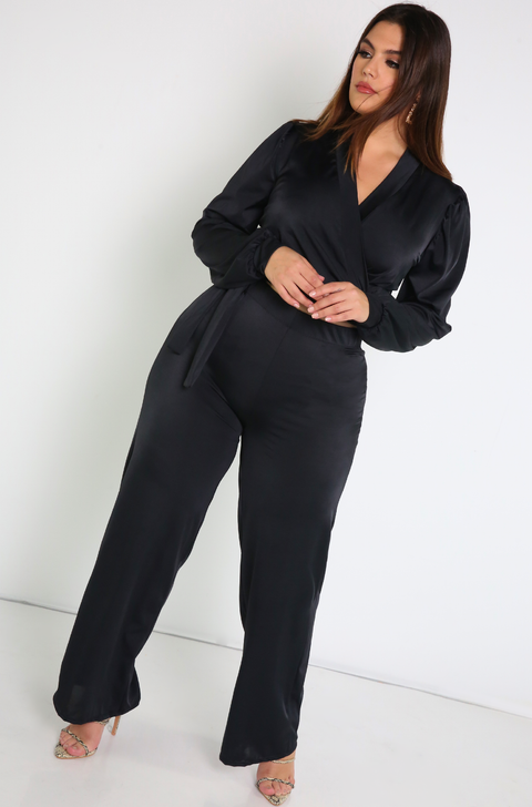 "Rebdolls ""Lock Down"" Puff Sleeve And Wide Leg Pant Set- FINAL SALE"