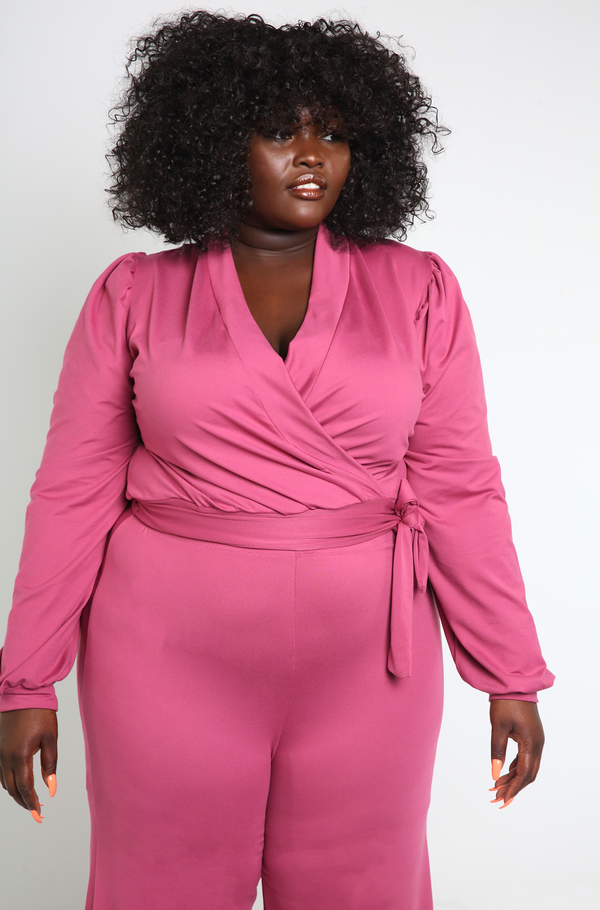 Party Pink Puff Sleeve And Wide Leg Pant Set Plus Sizes