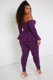 Purple High Waist Soft Band Leggings Plus Sizes