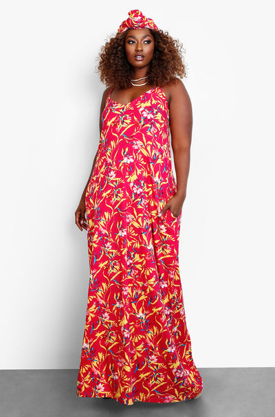 Fuchsia Oversized Maxi Dress w. Head Wrap Plus Sizes