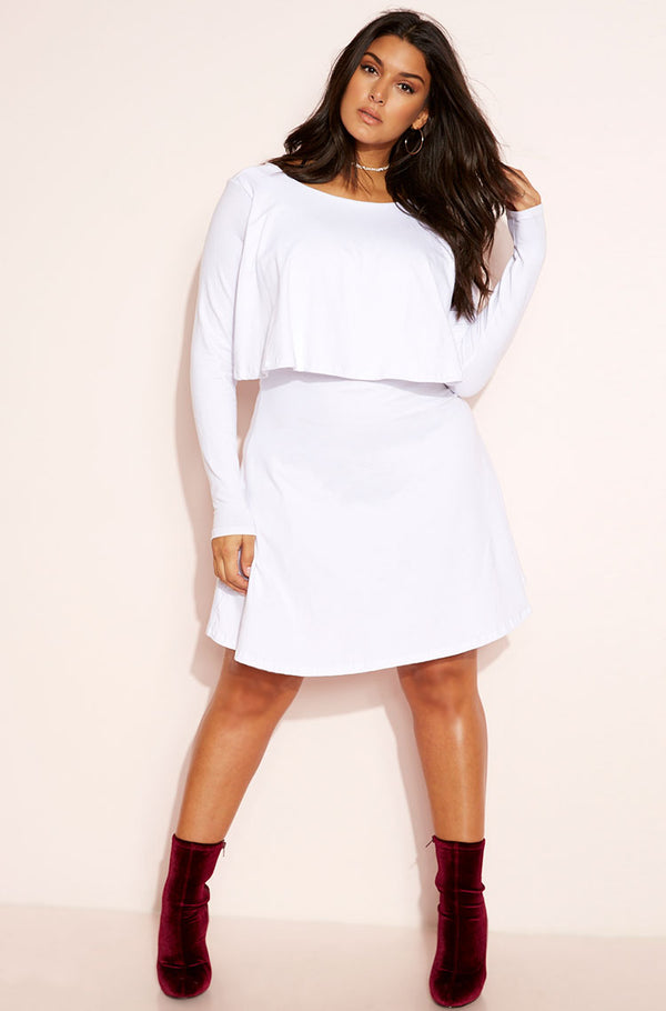 White Ruffled Mini A-Line Dress plus sizes