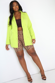 Pastel Green Double Breasted Oversized Blazer Plus Sizes