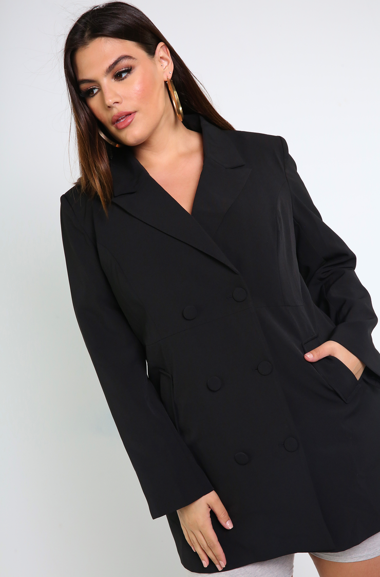 Black Double Breasted Oversized Blazer Plus Sizes