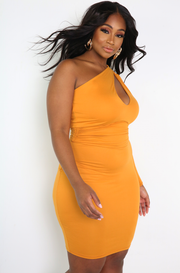 "Rebdolls ""Long Enough"" Keyhole Single Sleeve Mini Dress"