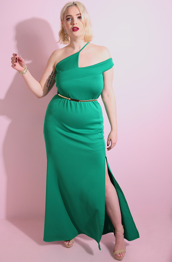 "Rebdolls ""Long Time Coming"" Asymmetrical Neckline Maxi Gown"
