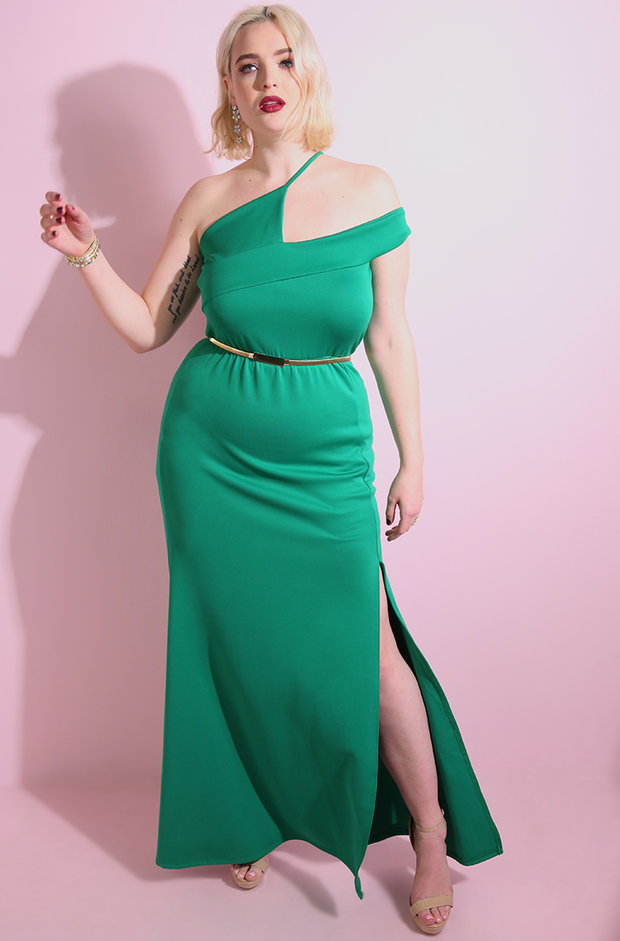 Green Asymmetrical Bodycon Neckline Maxi Gown plus sizes