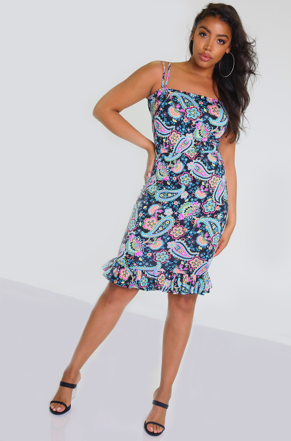 Blue Paisley Print Ruffled Hem Mini Dress Plus Sizes