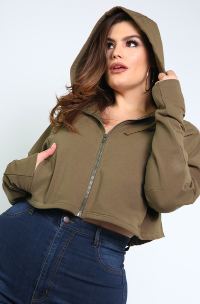 Olive Cropped Zip Up Hoodie Plus Sizes