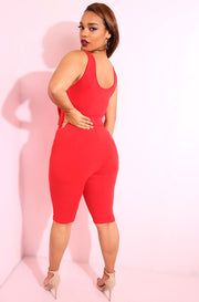 Red Front tie cropped pull up jumpsuit plus sizes