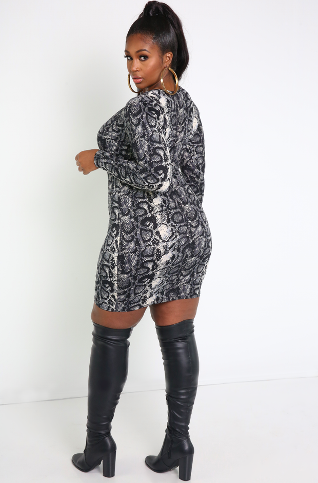 Gray Snake Print Bodycon Mini Dress Plus Sizes