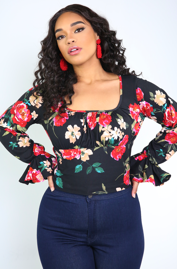 Black Flutter Sleeve Crop Top Plus Sizes