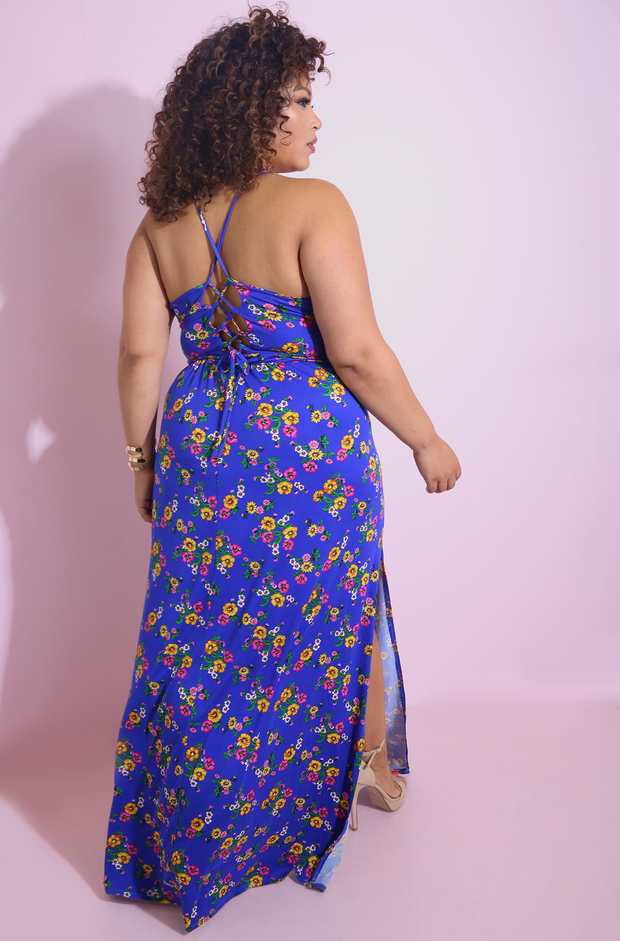 Royal Blue Flower Print Maxi Dress Plus Sizes