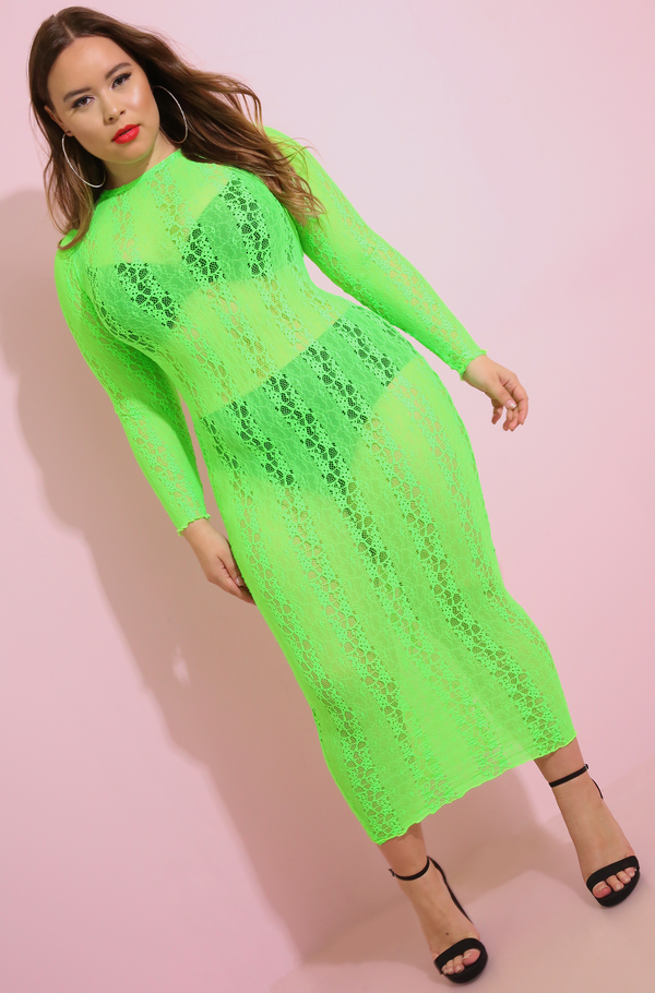 Lime Green Sheer Laced Bodycon Maxi Dress Plus Sizes