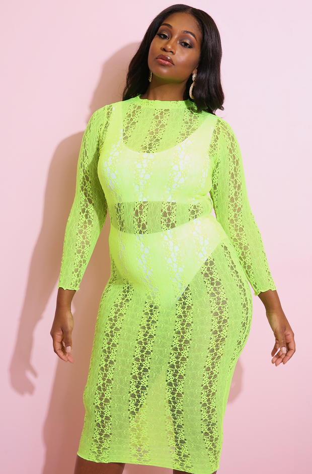 Neon Yellow  Sheer Laced Bodycon Maxi Dress