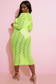 Neon Yellow  Laced Bodycon Maxi Dress