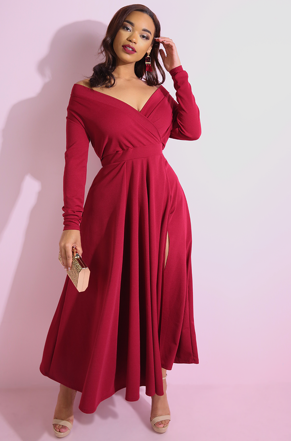 "Rebdolls ""Look This Way"" Over The Shoulder Maxi Gown"