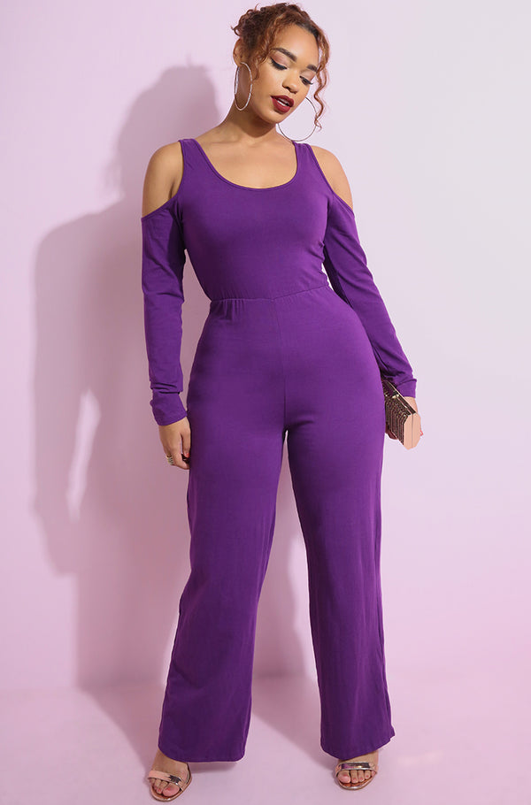 Purple Cold Shoulder Wide Leg Jumpsuit plus sizes